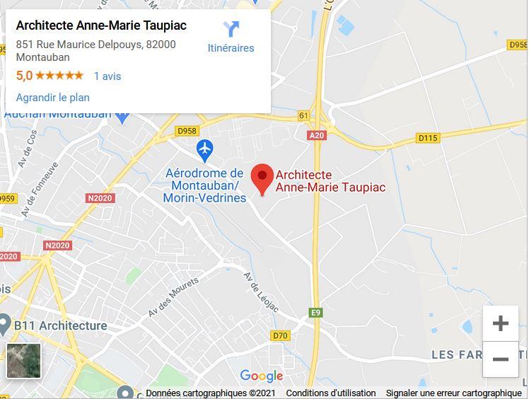 carte google maps accès au cabinet d'architecte Anne Marie Taupiac à Montauban
