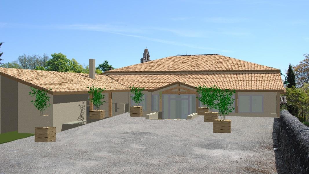Perspective 3 D du projet d'extension de la salle des fêtes de Montagudet